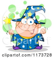 Cartoon Of A White Wizard Boy Holding A Wand With Green Bubbles Royalty Free Vector Clipart