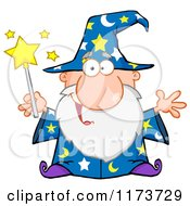 Cartoon Of A Happy Old Wizard Man Holding A Magic Wand Royalty Free Vector Clipart