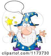 Cartoon Of A Happy Talking Old Wizard Man Holding A Magic Wand Royalty Free Vector Clipart