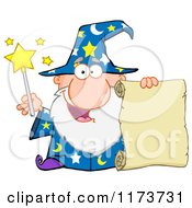 Cartoon Of A Happy Old Wizard Man Holding A Scroll And Wand Royalty Free Vector Clipart