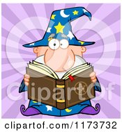 Cartoon Of A Wizard Man Reading A Spell Book Over Purple Rays Royalty Free Vector Clipart