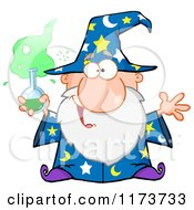 Cartoon Of A Old Wizard Man Holding A Science Beaker Royalty Free Vector Clipart