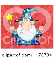 Cartoon Of A Mad Old Wizard Casting A Spell Over Red Rays Royalty Free Vector Clipart