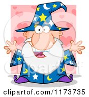Cartoon Of An Excited Old Wizard Over Pink Hearts Royalty Free Vector Clipart