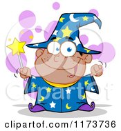 Cartoon Of A Black Wizard Boy Holding A Wand With Purple Bubbles Royalty Free Vector Clipart