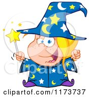 Cartoon Of A White Wizard Girl Holding A Magic Wand Royalty Free Vector Clipart
