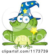 Cartoon Of A Wizard Frog With A Hat And Magic Wand In His Mouth Royalty Free Vector Clipart by Hit Toon