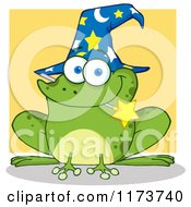 Cartoon Of A Wizard Frog With A Hat And Magic Wand In His Mouth Over Yellow Royalty Free Vector Clipart