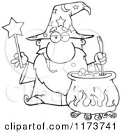 Cartoon Of A Black And White Wizard Holding A Magic Wand And Stirring A Cauldron Royalty Free Vector Clipart
