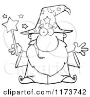 Cartoon Of A Black And White Happy Old Wizard Man Holding A Magic Wand Royalty Free Vector Clipart