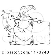 Cartoon Of A Happy Black And White Old Wizard Man Holding A Scroll And Wand Royalty Free Vector Clipart