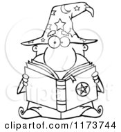 Cartoon Of A Black And White Wizard Man Reading A Spell Book Royalty Free Vector Clipart by Hit Toon