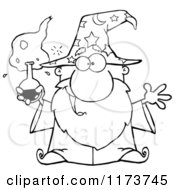 Cartoon Of A Black And White Old Wizard Man Holding A Potion Royalty Free Vector Clipart by Hit Toon