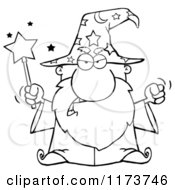 Cartoon Of A Black And White Mad Old Wizard Casting A Spell Royalty Free Vector Clipart by Hit Toon