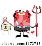 Cartoon Of A Devil Business Tax Man With A Money Bag And Pitchfork Royalty Free Vector Clipart