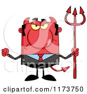 Cartoon Of A Mad Devil Businessman With A Pitchfork Waving A Fist Royalty Free Vector Clipart by Hit Toon