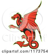 Clipart Of A Red Cartoon Dragon With A Green Outline Royalty Free Vector Illustration