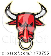 Clipart Of A Red Angry Bull Head With A Nose Ring Royalty Free Vector Illustration