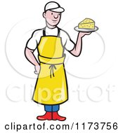 Clipart Of A Cartoon Male Cheesemaker Holding A Plate Royalty Free Vector Illustration