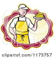 Clipart Of A Cartoon Male Cheesemaker Holding A Wedge In A Sunny Oval Royalty Free Vector Illustration by patrimonio