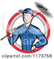 Clipart Of A Cartoon Illustration Of A Chimney Sweep Worker Holding A Broom In A Circle Royalty Free Vector Illustration by patrimonio