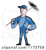 Clipart Of A Cartoon Illustration Of A Chimney Sweep Worker Holding A Broom Royalty Free Vector Illustration by patrimonio