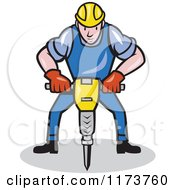 Cartoon Construction Worker Operating A Jack Hammer Pneumatic Drill