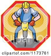 Cartoon Construction Worker Operating A Jack Hammer Pneumatic Drill In A Sunny Hexagon