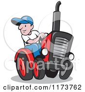 Clipart Of A Cartoon Farmer Driving A Tractor Royalty Free Vector Illustration