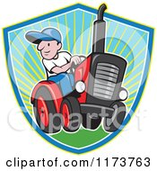 Clipart Of A Cartoon Farmer Driving A Tractor Over A Sunny Shield Royalty Free Vector Illustration