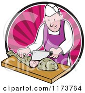 Clipart Of A Retro Cartoon Fishmonger Sushi Chef Chopping A Fish Over A Pink Circle Of Rays Royalty Free Vector Illustration