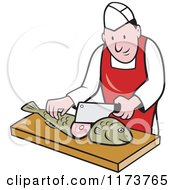 Clipart Of A Retro Cartoon Fishmonger Sushi Chef Chopping A Fish Royalty Free Vector Illustration by patrimonio