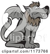 Clipart Of A Mythical Kludde Belgian Beast Wolf Bat Dog Royalty Free Vector Illustration