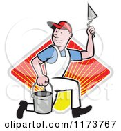 Cartoon Plasterer Construction Worker With Trowel And Pail Over A Sunny Diamond