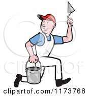 Clipart Of A Cartoon Plasterer Construction Worker With Trowel And Pail Royalty Free Vector Illustration
