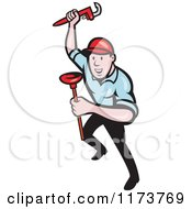 Clipart Of A Cartoon Plumber With A Monkey Wrench And Plunger Royalty Free Vector Illustration