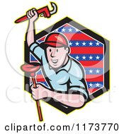 Cartoon Plumber With A Monkey Wrench And Plunger Over A Patriotic Hexagon