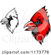 Clipart Of Grayscale And Red Cardinal Heads 2 Royalty Free Vector Illustration