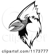 Clipart Of A Grayscale Cardinal Head 2 Royalty Free Vector Illustration