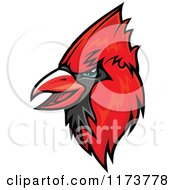 Clipart Of A Red Cardinal Head 2 Royalty Free Vector Illustration
