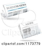 Clipart Of Floating Business Newspapers And Shadows Royalty Free Vector Illustration