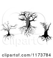Clipart Of Silhouetted Dead Trees And Roots 2 Royalty Free Vector Illustration by Vector Tradition SM