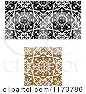 Clipart Of Seamless Black Brown And White Arabic Floral Patterns Royalty Free Vector Illustration