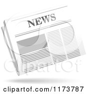 Clipart Of A Floating Newspaper And Shadow 3 Royalty Free Vector Illustration