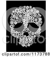 Black And White Floral Skull On Black