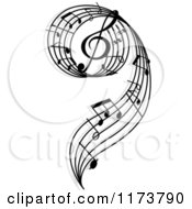 Clipart Of A Black And White Music Swirl With Notes Royalty Free Vector Illustration