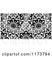 Clipart Of A Seamless Black And White Arabic Floral Pattern Royalty Free Vector Illustration