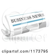 Clipart Of A Floating Business Newspaper And Shadow Royalty Free Vector Illustration by Vector Tradition SM