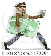 Clipart Of A Hacker Identity Thief Carrying A Credit Card And Cash Royalty Free Vector Illustration