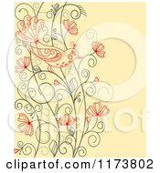 Clipart Of A Red Bird On A Floral Vine Over Yellow Royalty Free Vector Illustration